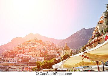 Positano beautiful view from the beach, Amalfi coast, Italy