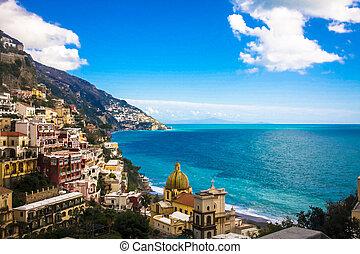 positano, costa, itália, amalfi