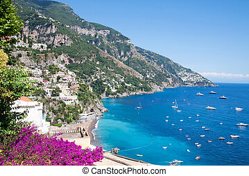 positano, costiera, italië, amalfitana