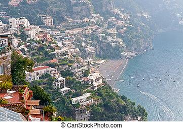 Positano in the haze, Amalfi Coast - Positano is a...