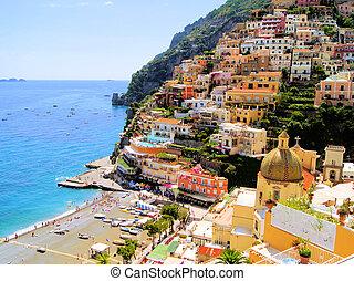 Positano, Italy - View of the town of Positano, Amalfi...