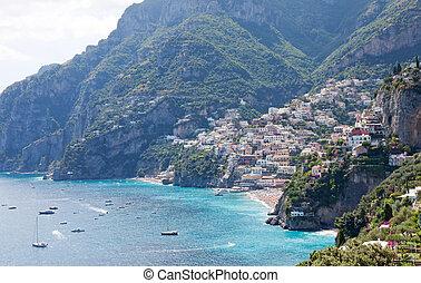 positano, kust, italië, amalfi