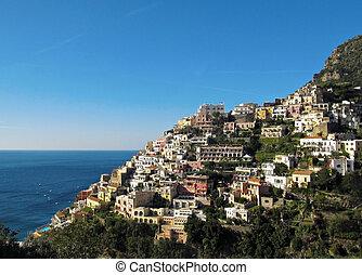 Positano on Amalfi Coast - The beautiful town of Positano in...