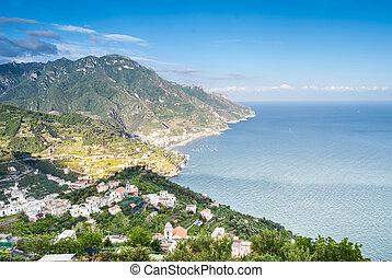 positano., panoramisch, italië, aanzicht