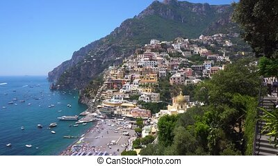 Positano resort, Italy - view of Positano town on the rock -...