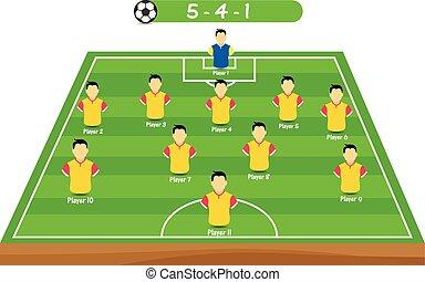 positie, speler, voetbal, tactisch