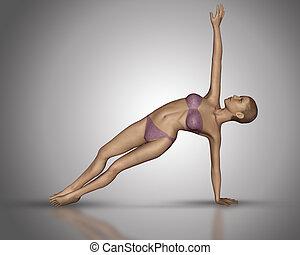 positie, yoga, vrouwtje cijfer, 3d