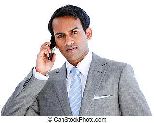 positief, boeiend, zakenman, roepen, telefoon