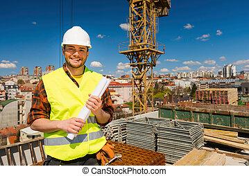 positief, de arbeider van de bouw