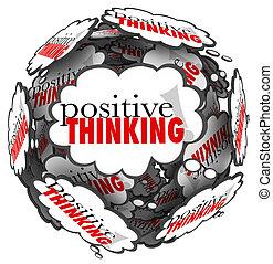 positief denken, woorden, gedachte, wolken, bol
