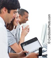 positief, handel team, op het werk
