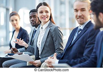 positief, het bespreken, oplossing, zakenlui