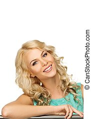positief, jonge vrouw , met, lang, blond haar