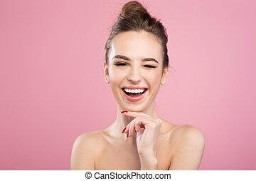 positief, meisje, is, uitdrukken, genoegen, van, haar, huid