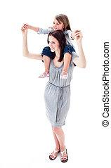 positief, moeder, geven, haar, dochter, ritje op de rug rit