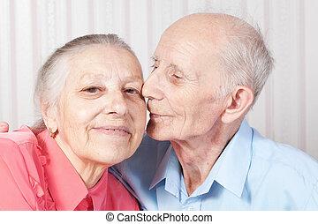 positief, paar, bejaarden, vrolijke