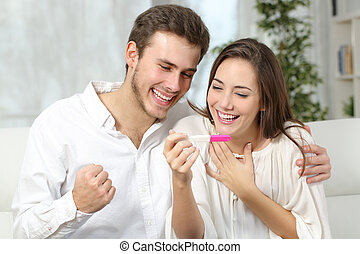 positief, paar, zwangerschapstest, vervaardiging, vrolijke