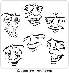positief, set., vector, -, emoties