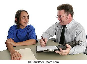 positief, student, leraar, conferentie