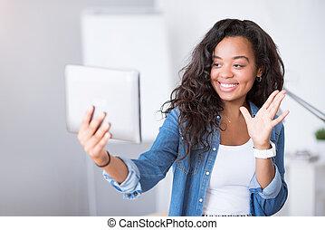 positief, vrouw, gebruik, tablet