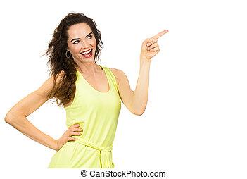 positief, vrouw het richten, vrolijke