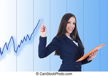 positief, vrouw, tabel, zakelijk