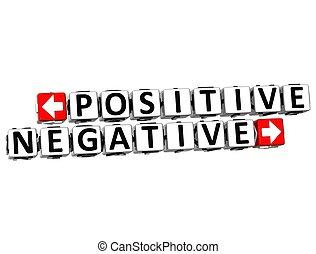 positif, bouton, négatif, ici, texte, déclic, bloc, 3d