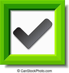 positif, checkmark, vecteur, vert