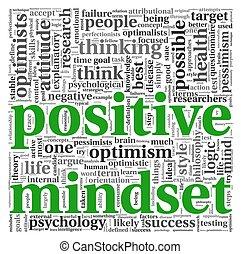 positif, concept, étiquette, nuage, mindset