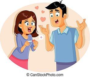 positif, couple, jeune, illustration, test de grossesse, dessin animé