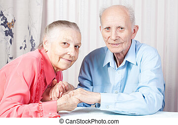 positif, couple, personnes agées, heureux