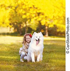 positif, dehors, ensoleillé, chien, chaud, enfant, amusement, avoir, heureux