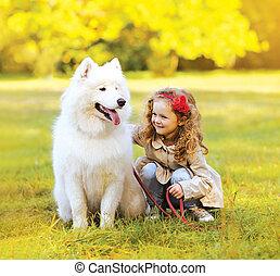 positif, dehors, parc, chien, enfant, amusement, avoir
