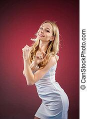 positif, femme, danser., les, concept, de, vie, dans mouvement