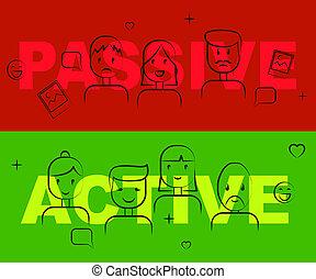 positif, illustration, passif, attitude, vs, mots, actif, spectacles, 3d