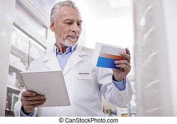 positif, mâle, pharmacien, enregistrement, drogue