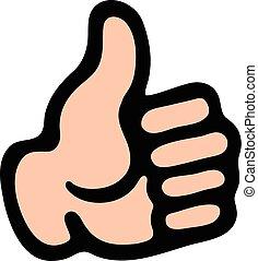 positif, main haut, geste, pouces