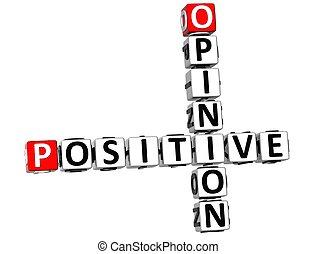 positif, mots croisés, 3d, opinion