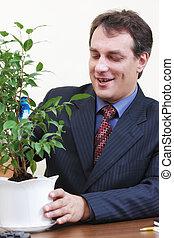 positif, plante, arrosage, homme affaires