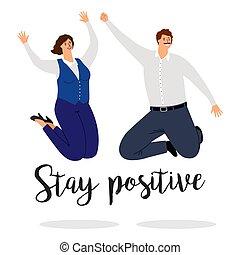 positif, séjour, affiche, sauter, gens