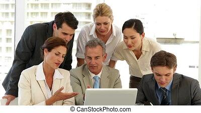 positif, s, discussion affaires, équipe