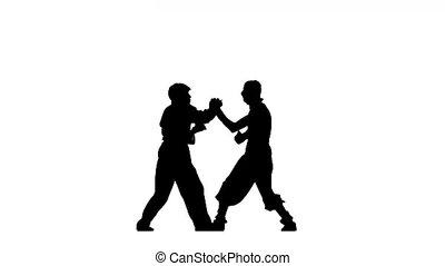 position, combat, figure, bataille, ninja, karaté, silhouette, blanc