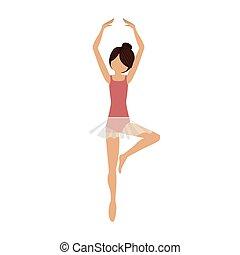 position, danseur, coloré, pirouette, cinquième
