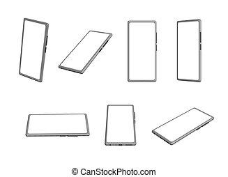 position, ensemble, vecteur, maquette, différent, smartphone