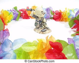 position, entouré, bouddhiste, fleurs, combat