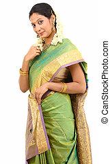 position femme, dans, soie, sari