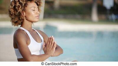 position, femme méditer, séance