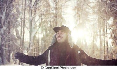 position homme, hiver, lancement, forêt, jeune, snow.,...