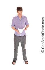 position homme, lecture, quelques-uns, papers.