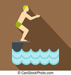 position homme, sur, tremplin, préparer, à, plongeon, icône